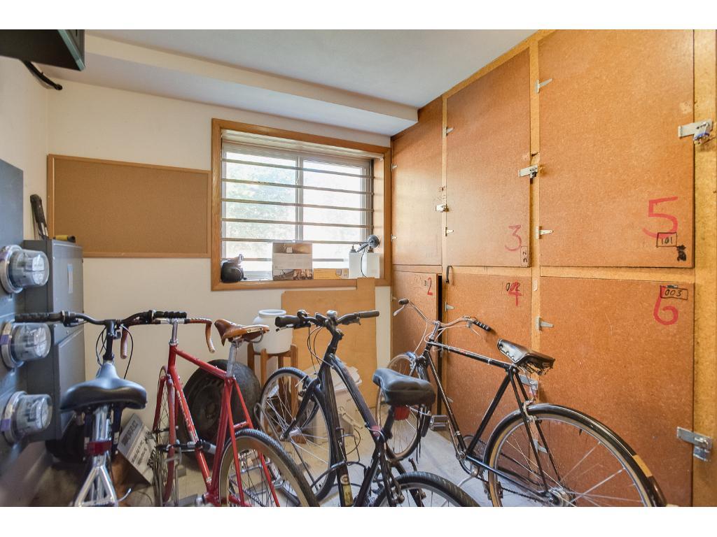 In Building Bike and Storage locker room.