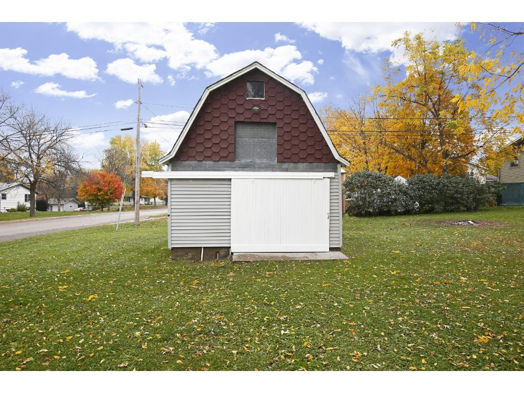 Heated, detached garage with plenty of storage on the top level.