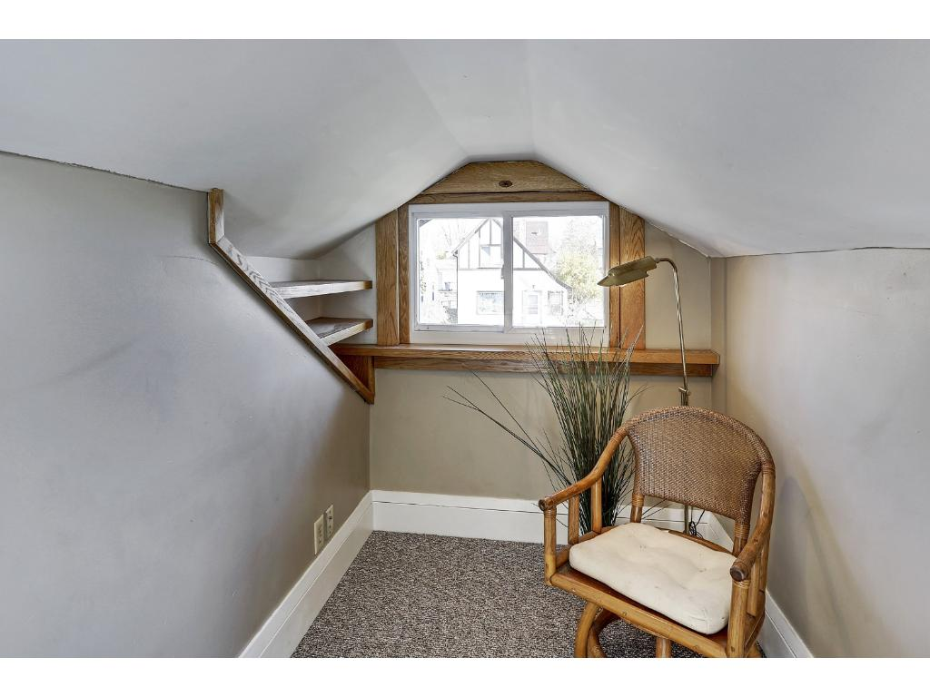 View of reading nook.  Large enough for a desk and could be a great place for a little office.