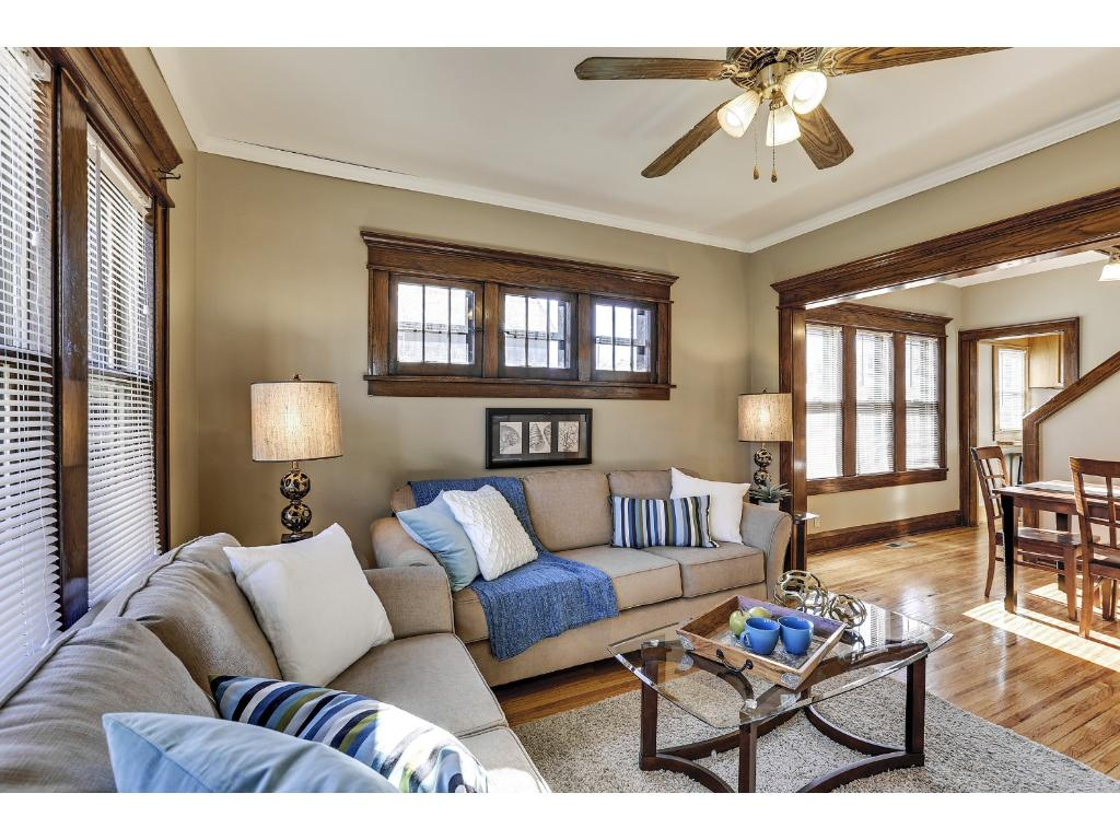 This is the epitome of a Craftman home with the natural woodwork, hardwood floors and bank of piano windows.