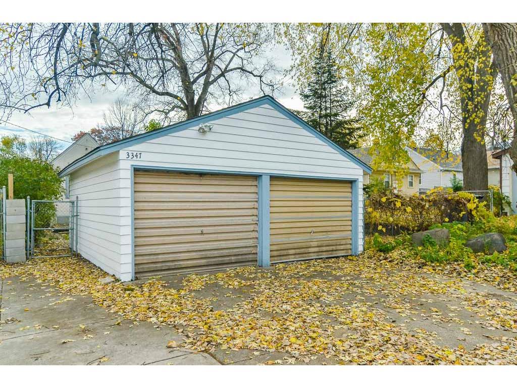 Two car garage.  Only one door has opener.