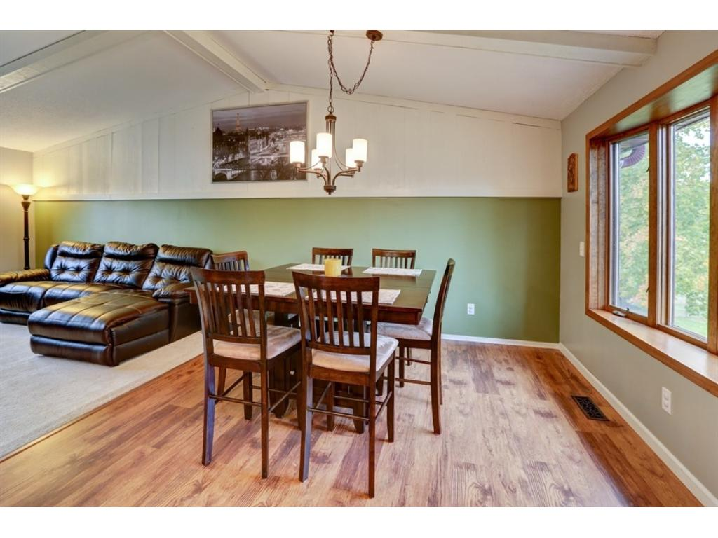 The dining area also opens directly to the large living room. See? Open!