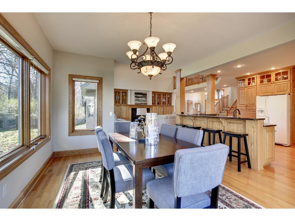Your guests will move easily to the Dining Room, featuring hardwood floors.