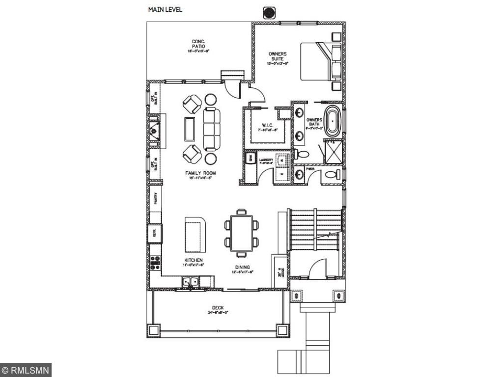 This floor plan features the convenient main-floor master suite complete with walk-in closet and full bathroom. 351 Pleasant Ave., Summit Hill., St. Paul. Pleasant Ridge.