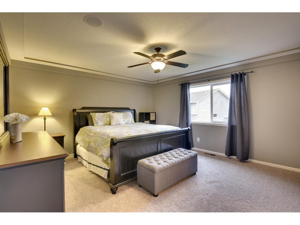 The Owner Suite bedroom features a trayed ceiling.
