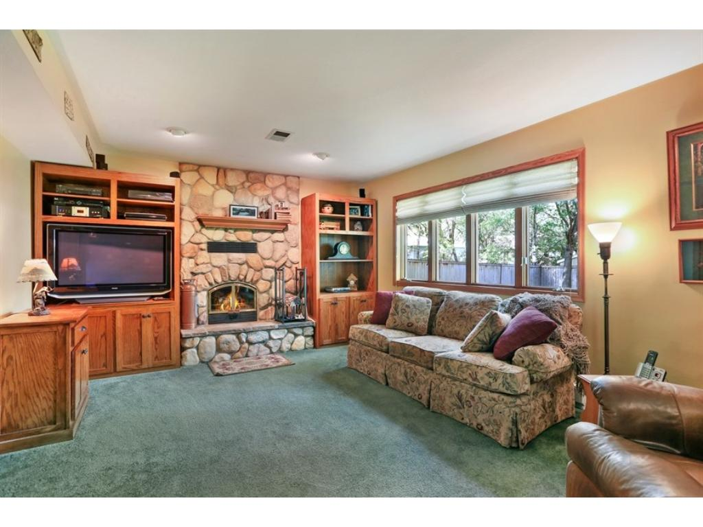 Lower level family room with a stone wood burning fireplace and large windows to let in lots of light.