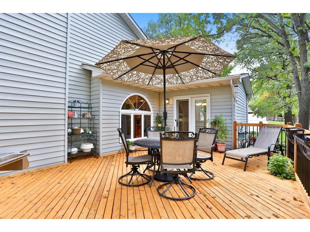 Beautifully refinished deck with lots of space.