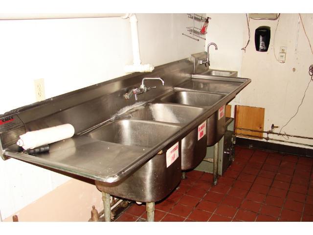 Back room dishwashing station.