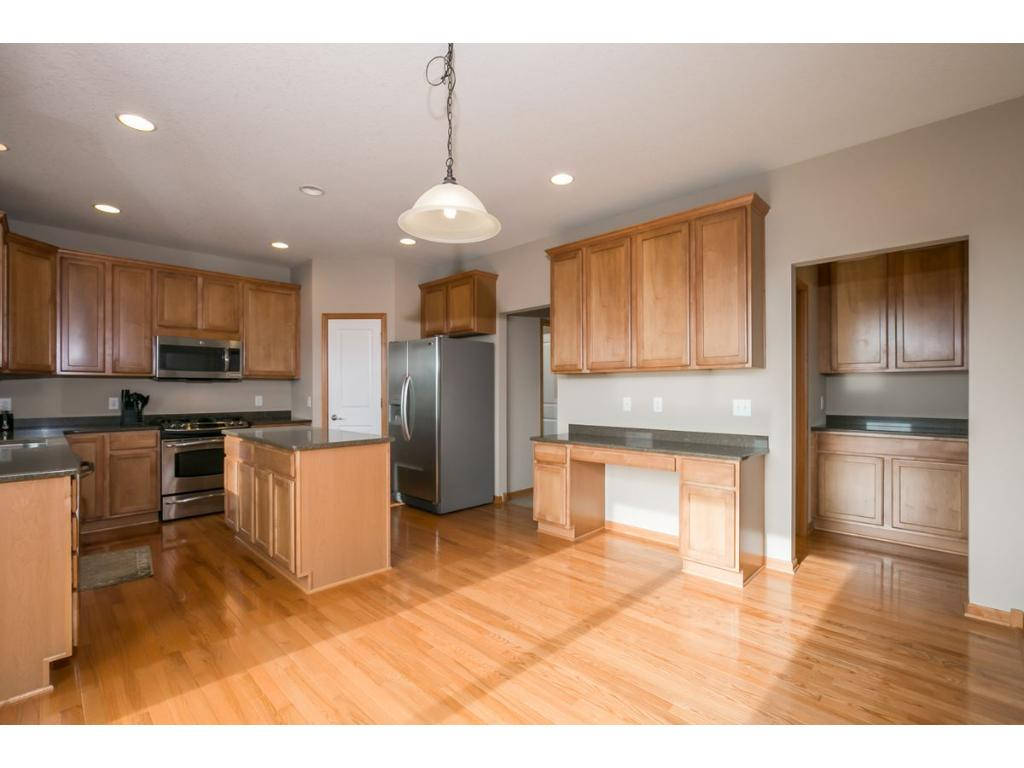 Solid Wood Floors and counters in the updated Kitchen.