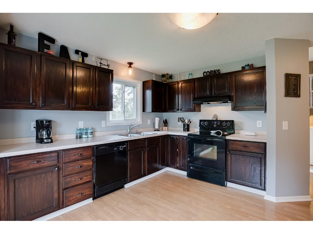 Large kitchen with bay window, lots of counter and cabinet space and all appliances!