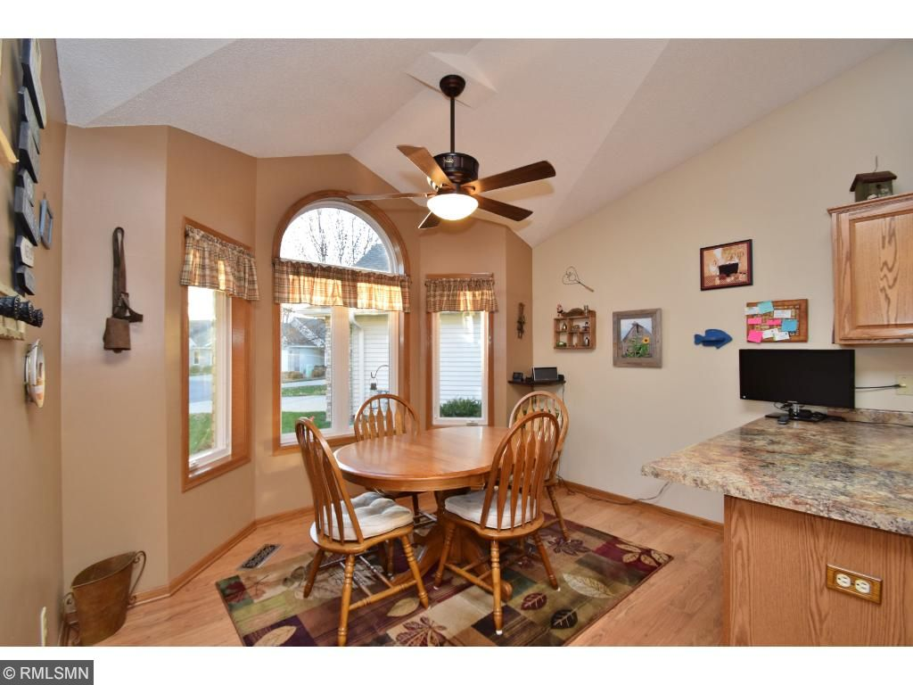 Vaulted ceilings and lots of space in the dining room