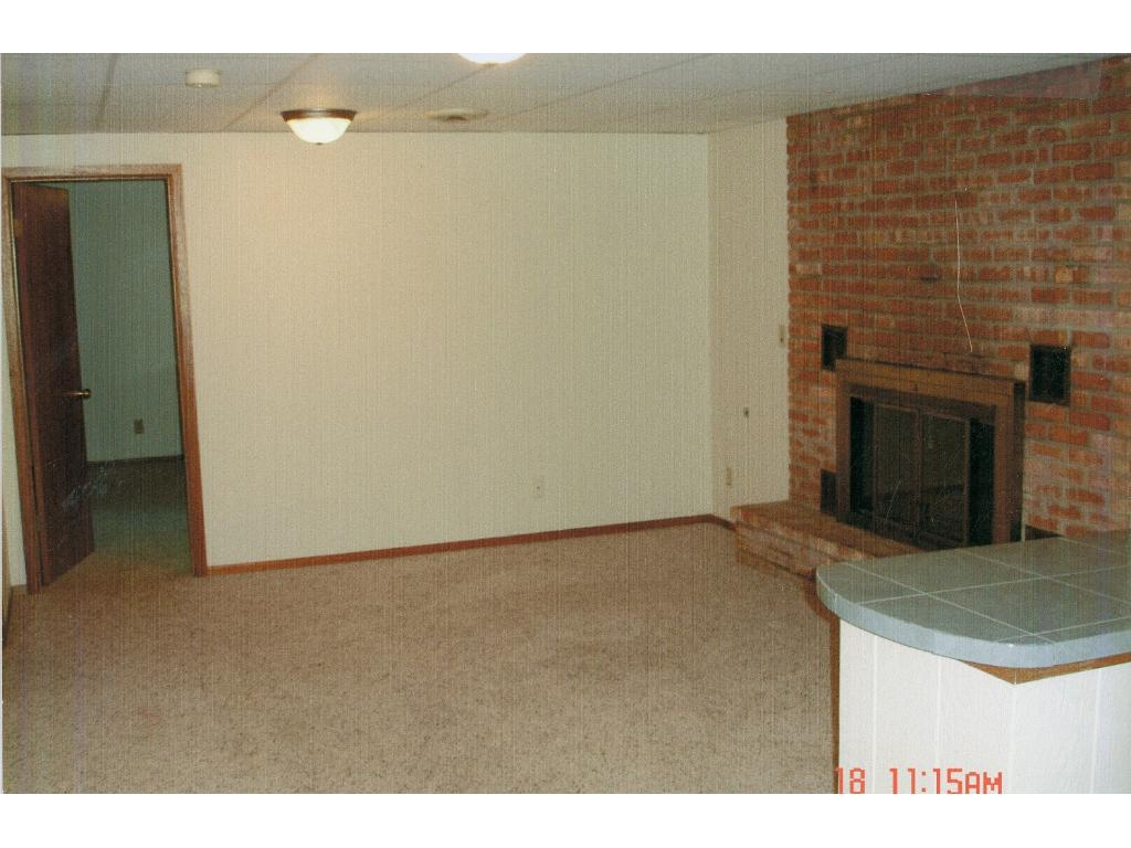 Lower level living room, showing gas-burning fireplace.