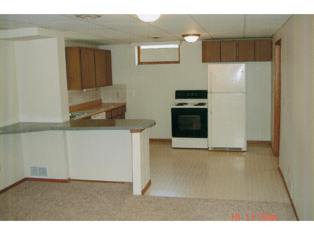 Lower level kitchen area.