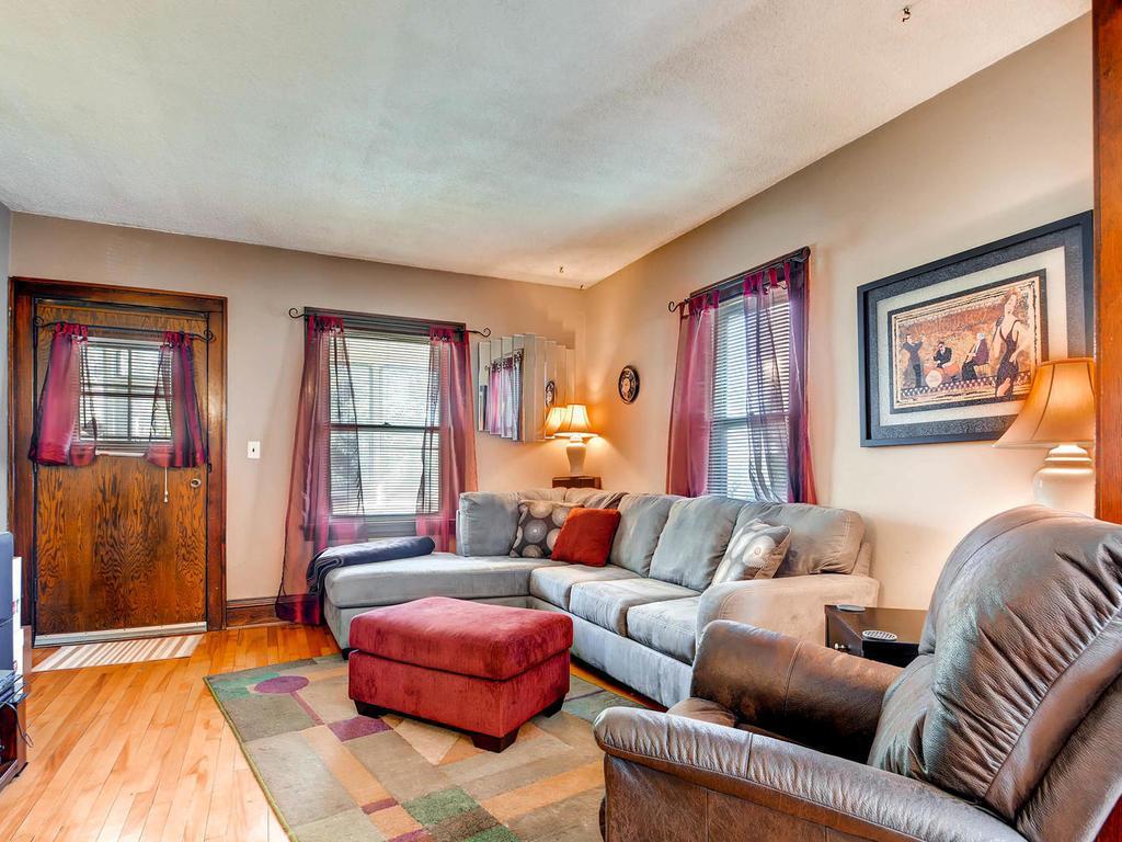 Real hardwood floors in the main level living room.