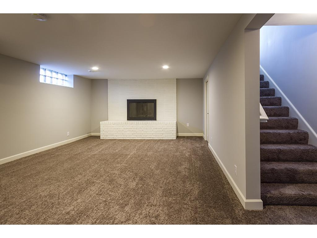 Lower level family room with fireplace