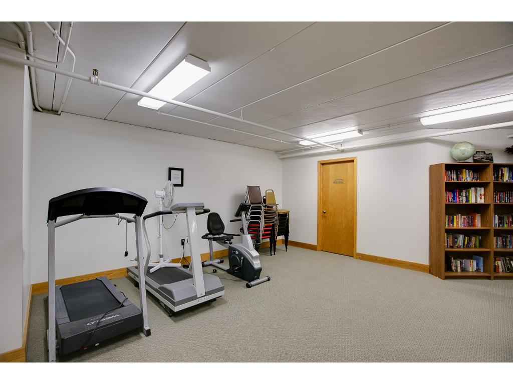 Exercise room also features library and seating area.