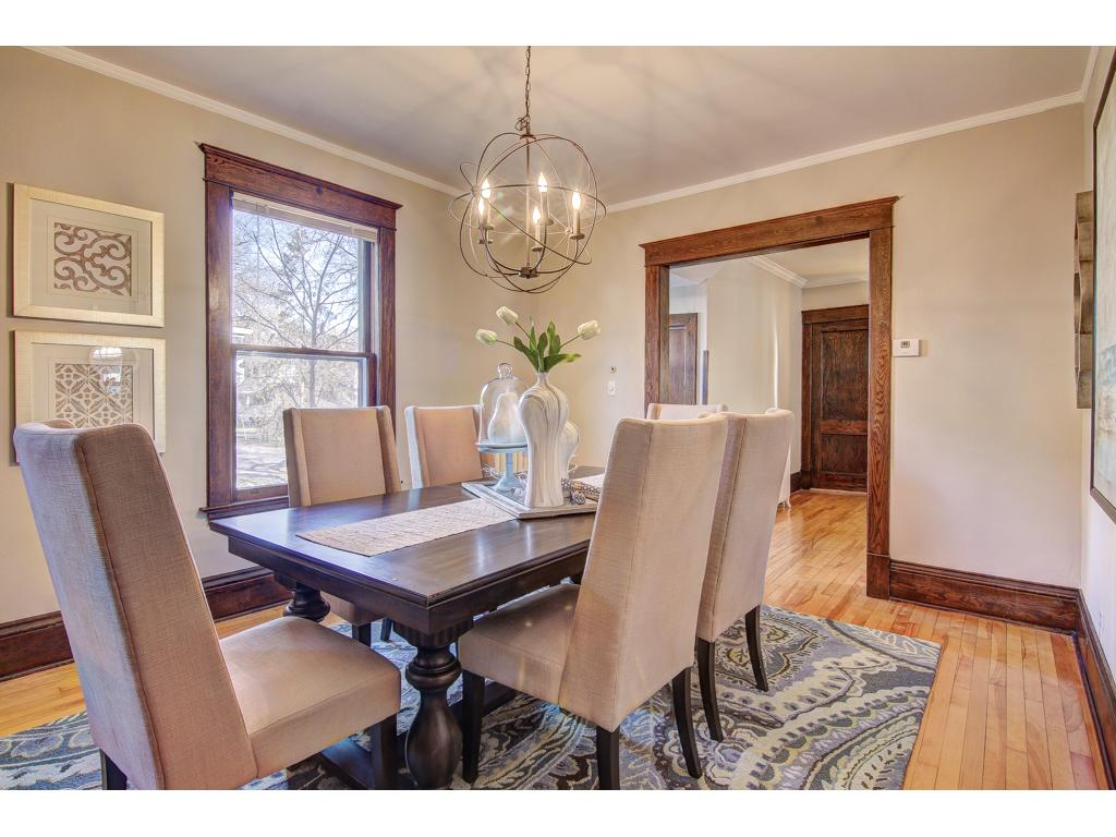 Beautiful Formal Dining Room with Built-In Buffet with Leaded Glass