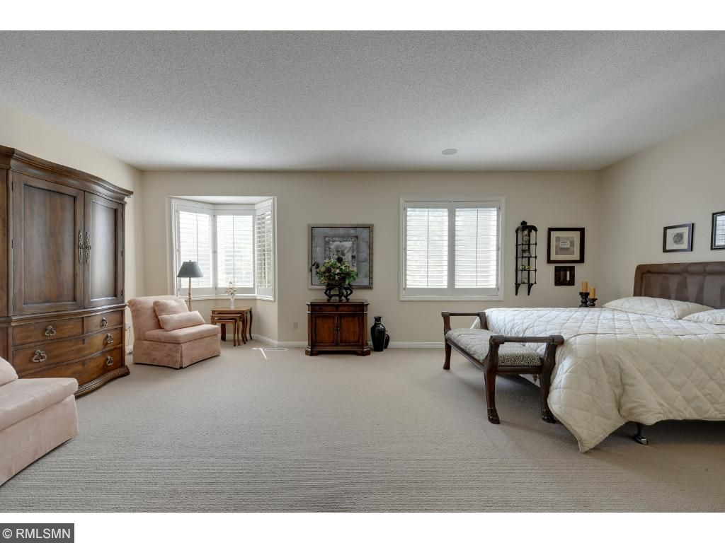 Large owners suite with walk in closet and en suite bathroom.