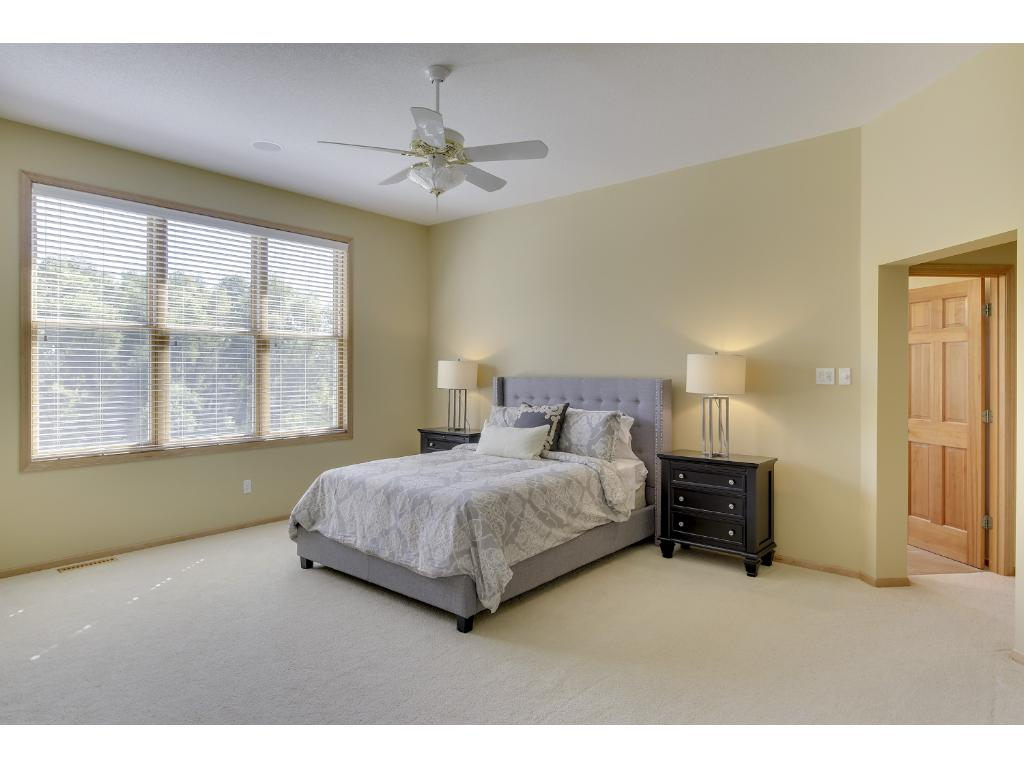 Large main floor master bedroom with adjoining walk in closet, baster bath, and wetland views