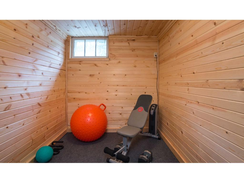 brand new cedar lined exercise room