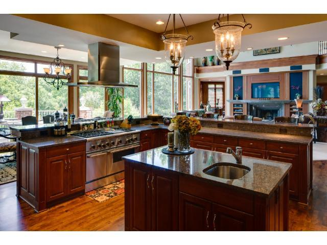 This chef's dream kitchen is simply gorgeous and a wonderful open space.