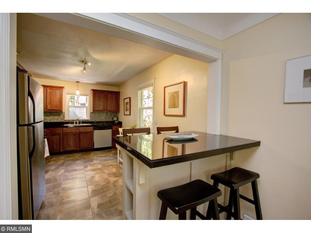 Fully updated kitchen with charming built in high top table!