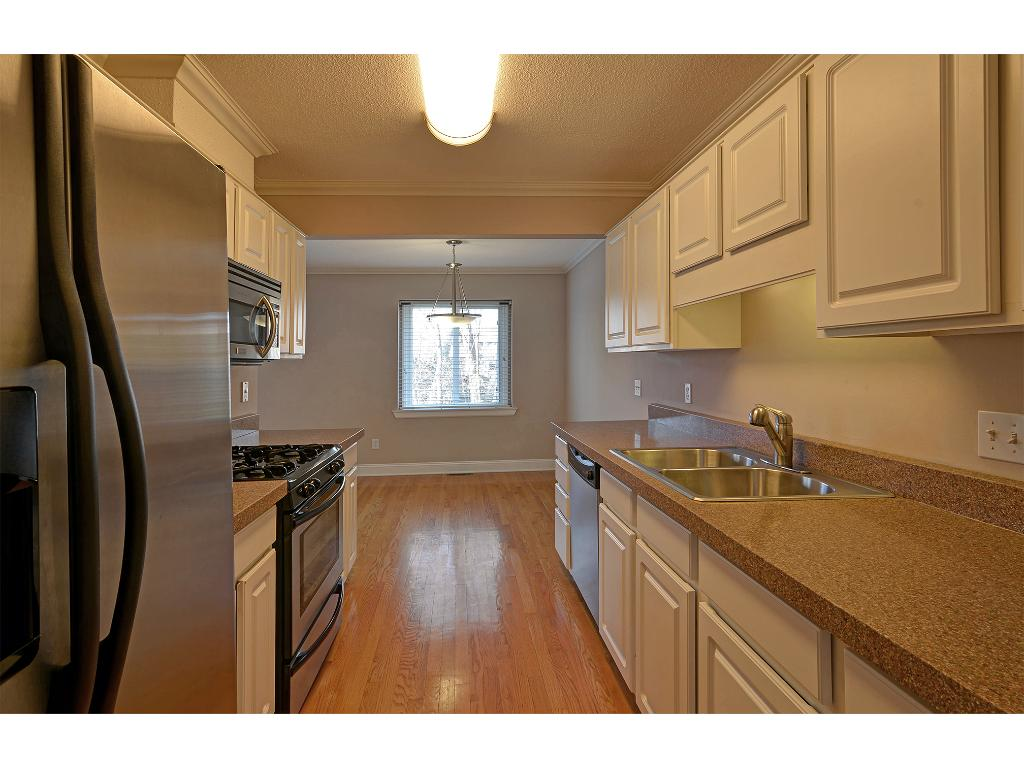 The bright, updated kitchen is in the center of the main floor.