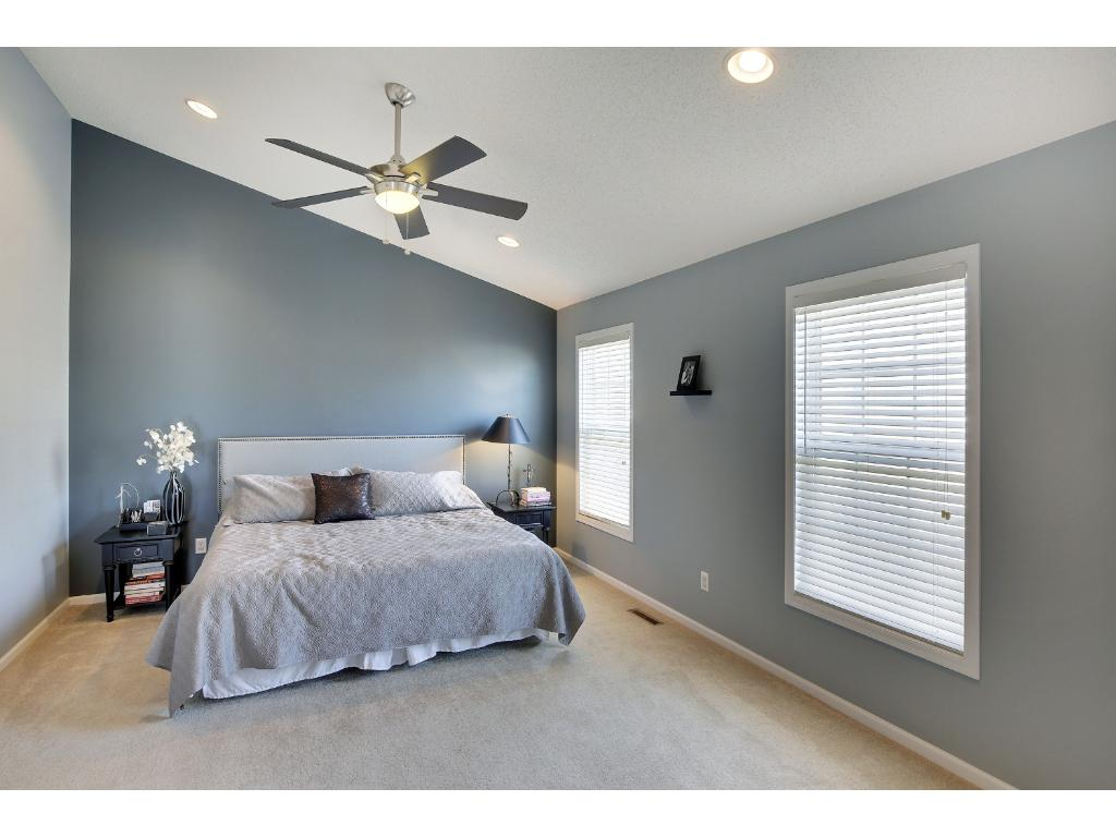 Huge master bedroom with vaulted ceilings.