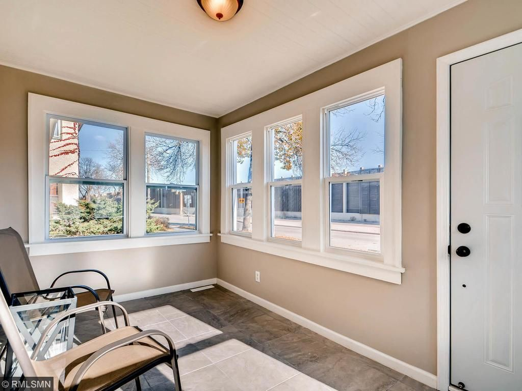Heat vents and sunny southeast exposure make this porch the perfect place to relax after a long day (or short day) at work.
