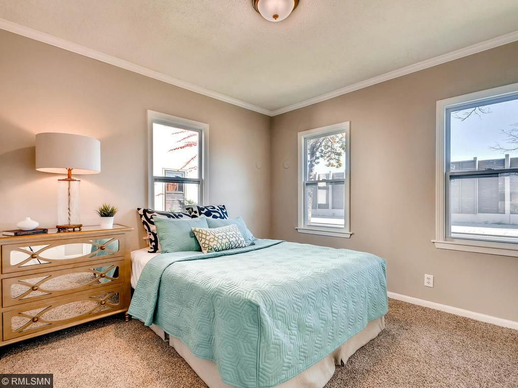 Bedroom one features two closets, new carpet, new paint and light fixture.  Sleep in on Saturday morning at 4504 Stevens.