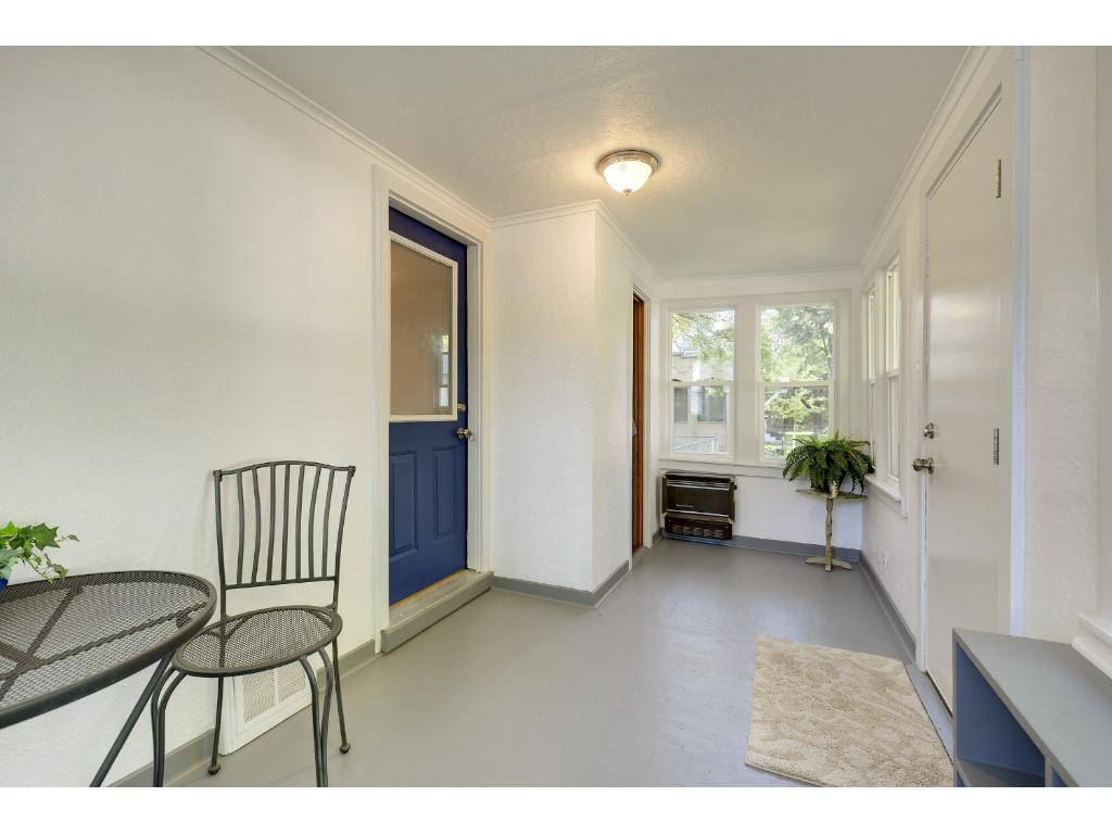 Porch includes cedar lined coat closet
