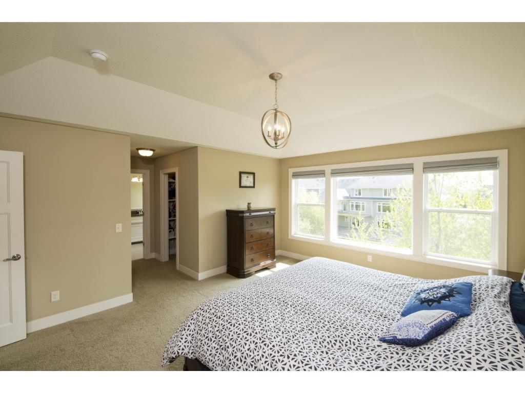 The private master suite features tray vaulted ceilings and a spacious walk-in closet.