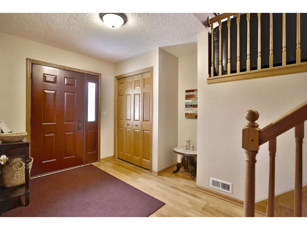 Over sized entry/foyer. Brand new front storm door.