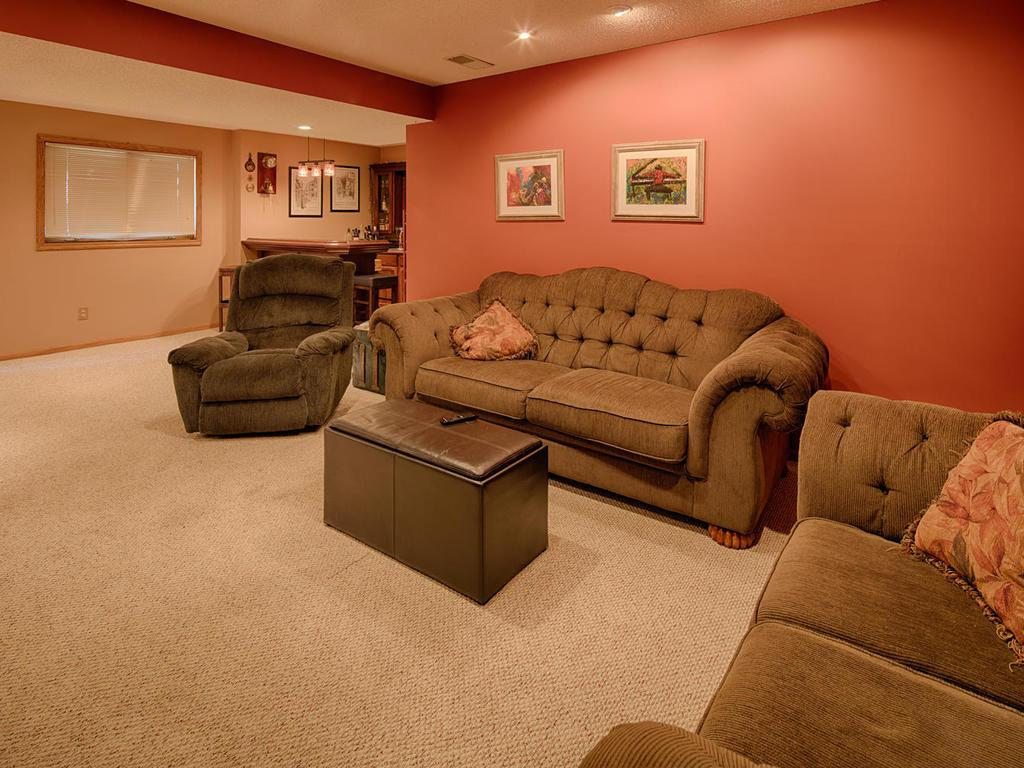 Lower level family room, space for movies/TV and gaming.
