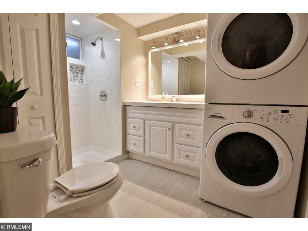 Clean 3/4 Bathroom with Laundry.
