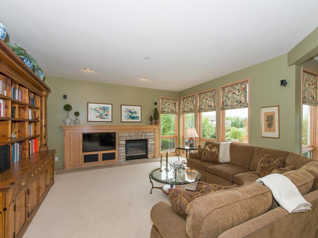 The main level Family Room features a gas stone fireplace with built-in media cabinet, 9' windows, and custom Roman shades.
