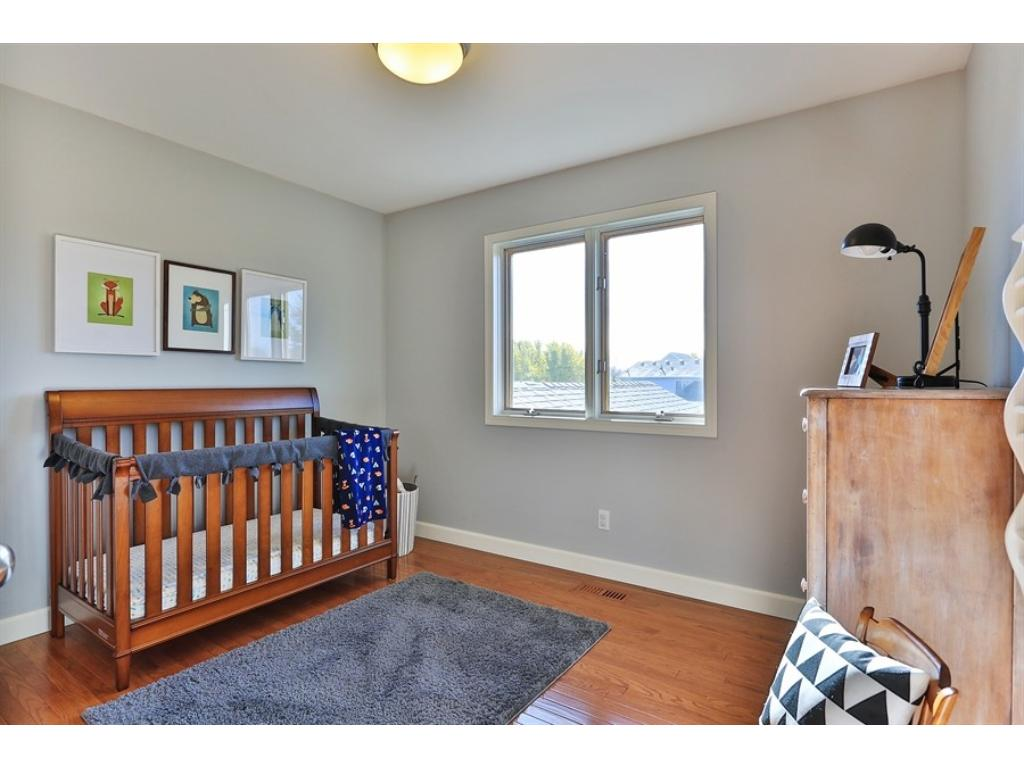 One of three bedrooms on the upper level.  All new paint, new hardwood floors and move-in ready.