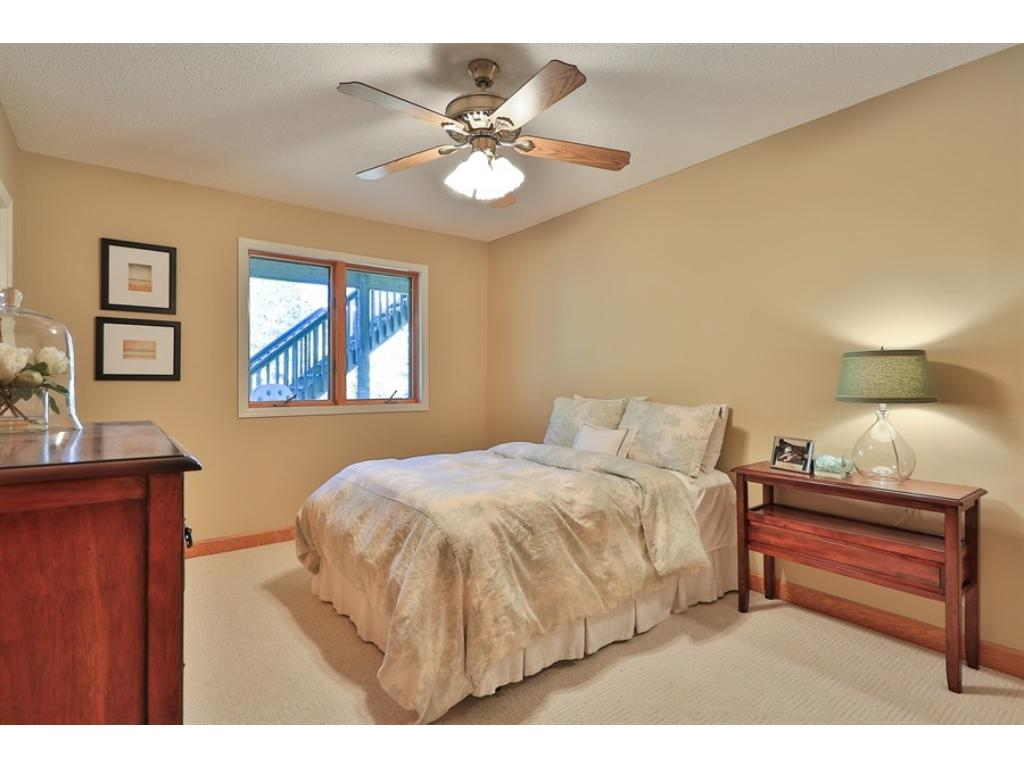 Lower level bedroom is light and bright.  Private area of the lower level and great for guests or family staying over.