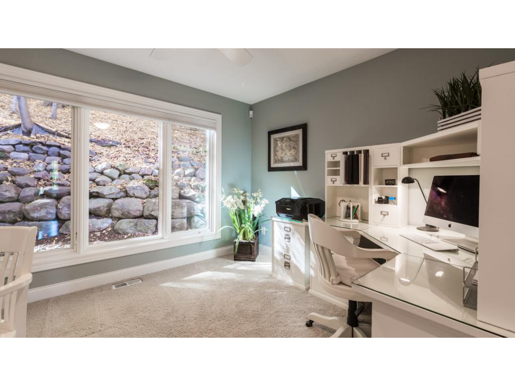 This private office is located on the main level & features huge window & glass French door entry. Nearby is a guest 1/2 bath. Mechanical upgrades in the home include dual zone heat, air exchange system, central vacuum & more.