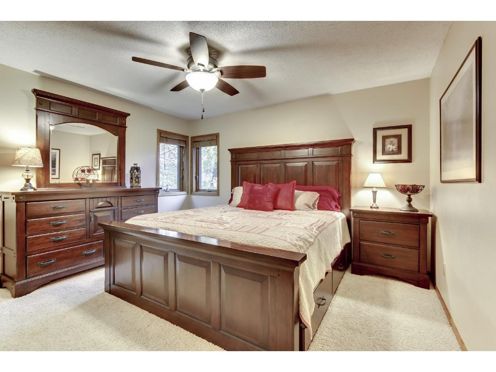 Master bedroom has two large closets and provides walk through access to the upper level bathroom.