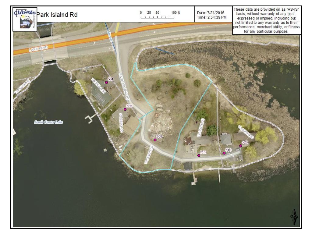 Large lot on South Center Lake.  Aerial shows the approximate layout of this 1 plus acre lake lot.  SSW facing. Gradual  Slope, sand shore line.