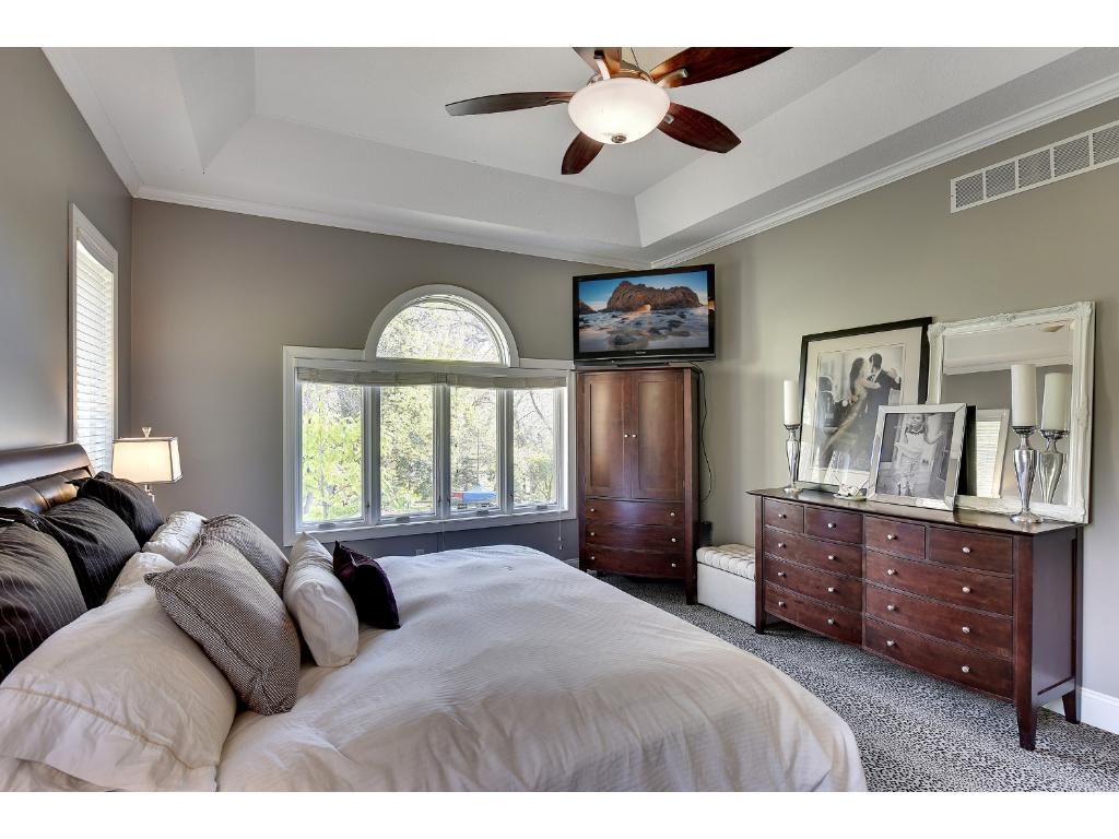 Spacious main floor master with tray ceilings