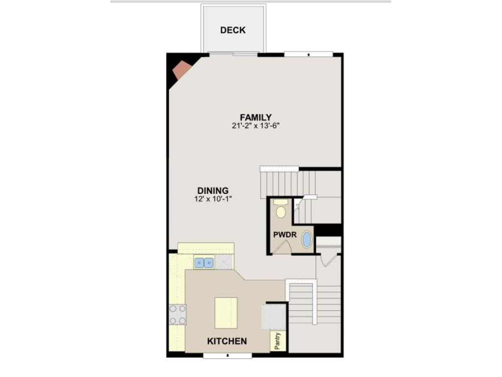 Main level floorplan -- open layout between kitchen, dining and large family room.  Corner gas fireplace in family room.  Kitchen features center island plus raised bar adjacent to dining area.  Half-bath powder room on main level, too.