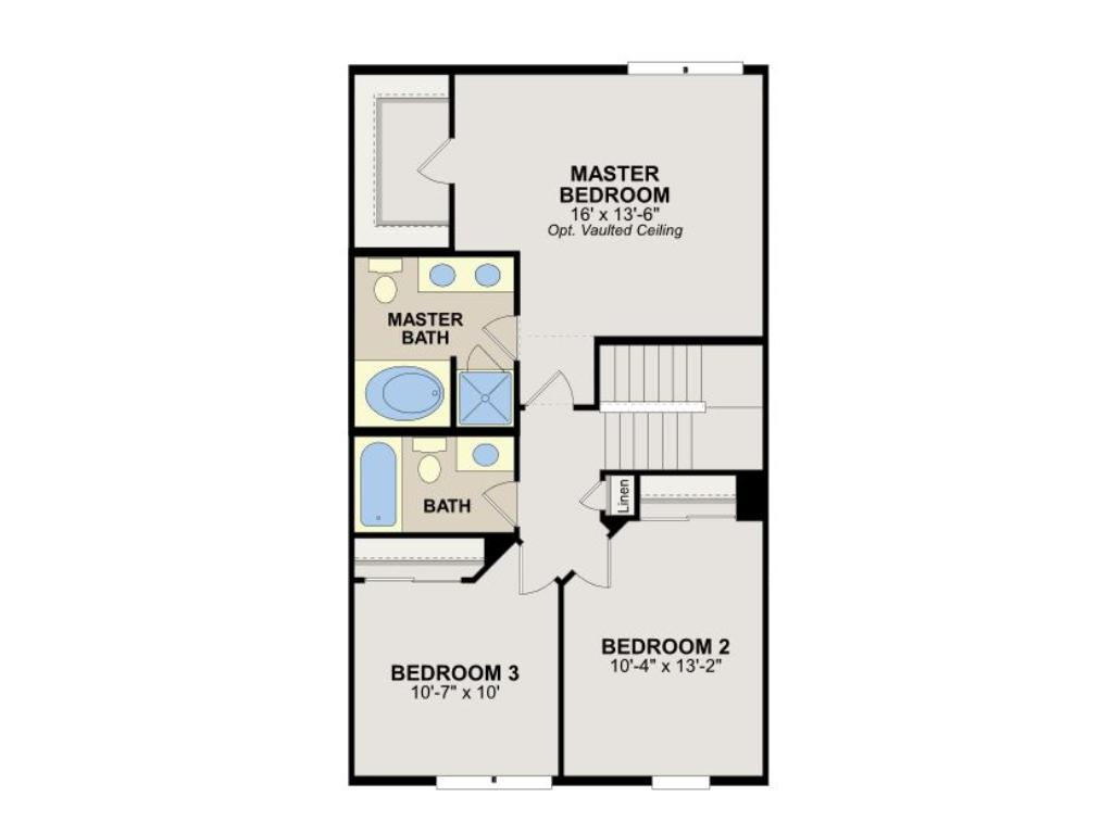 Upper level floorplan -- large owner's suite/master bedroom with walk-in closet and en suite bathroom with soaking bathtub and separate shower stall.  Two additional bedrooms and  full bathroom.