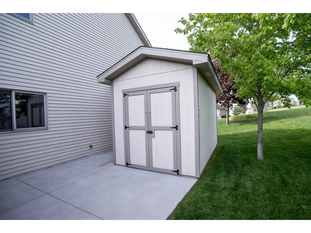 Shed for extra storage.