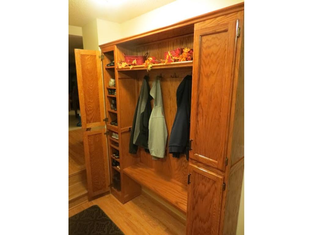 Built in cabinet in entry way.