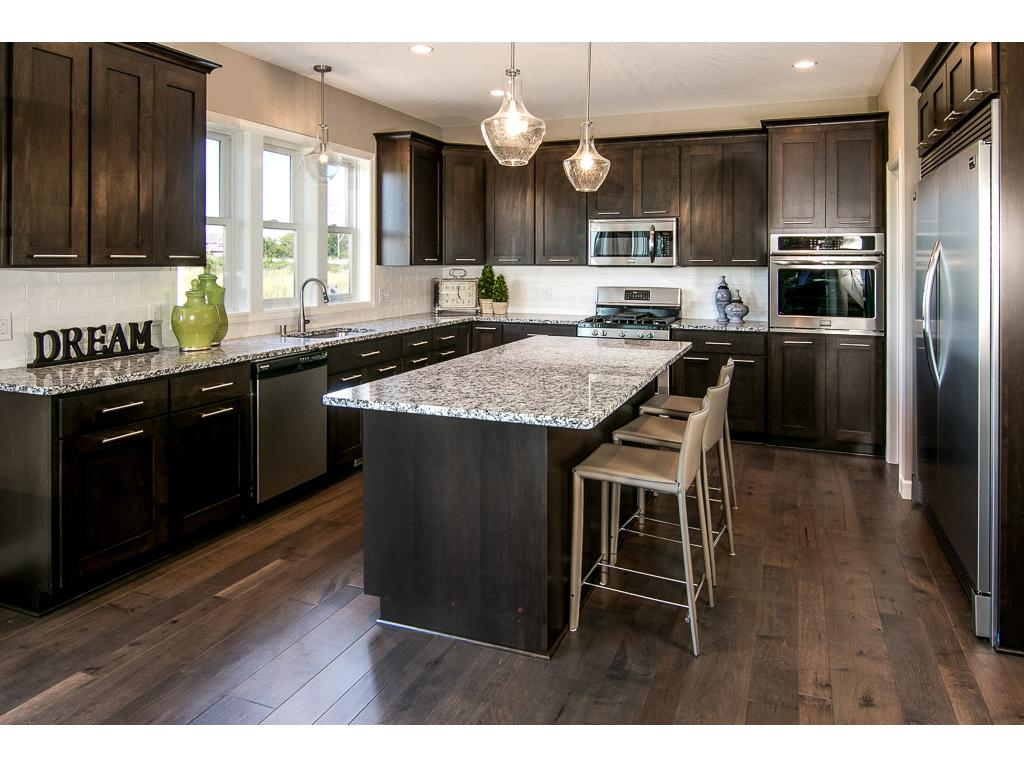 Large kitchen, Custom cabinets and granite tops.