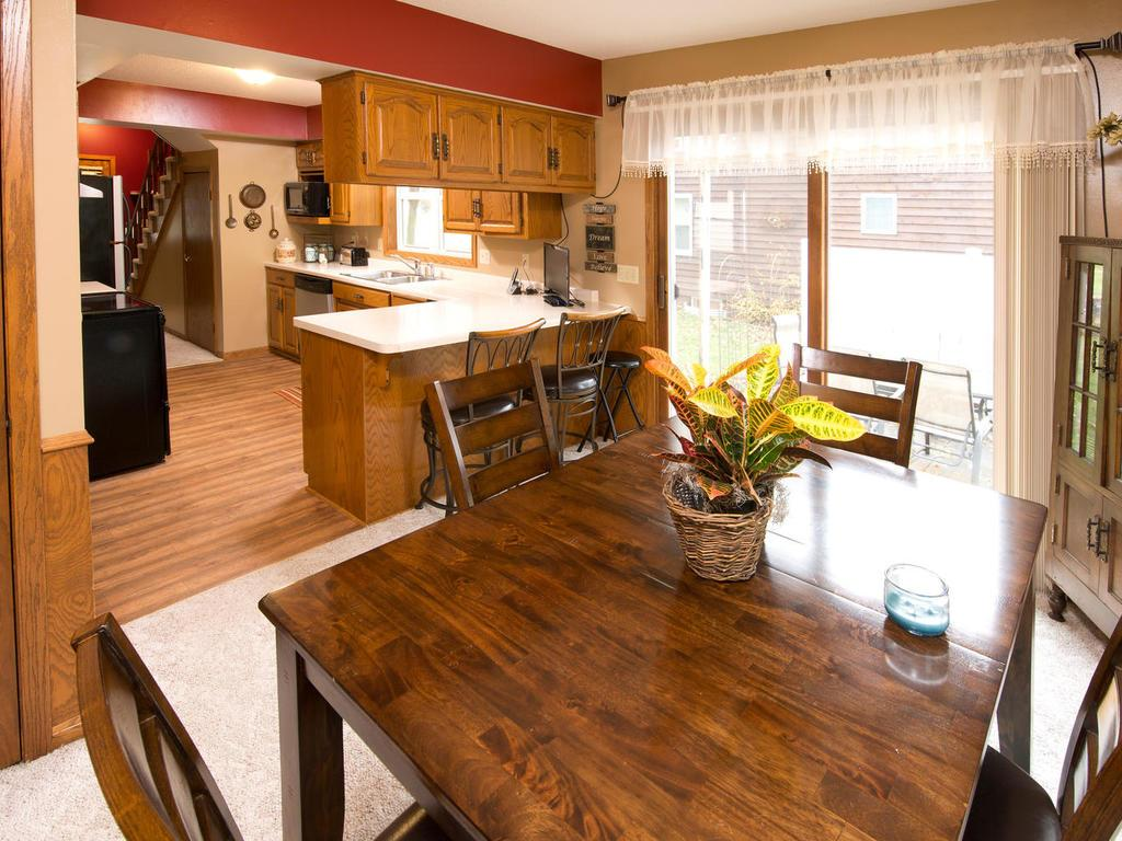 Dining room into the kitchen...check out the breakfast bar!  Perfect!