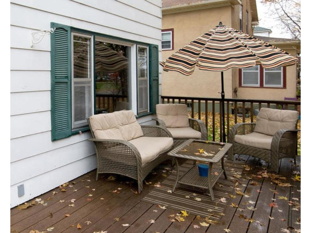 You will enjoy your morning coffee on this maintenance free deck, facing city park!