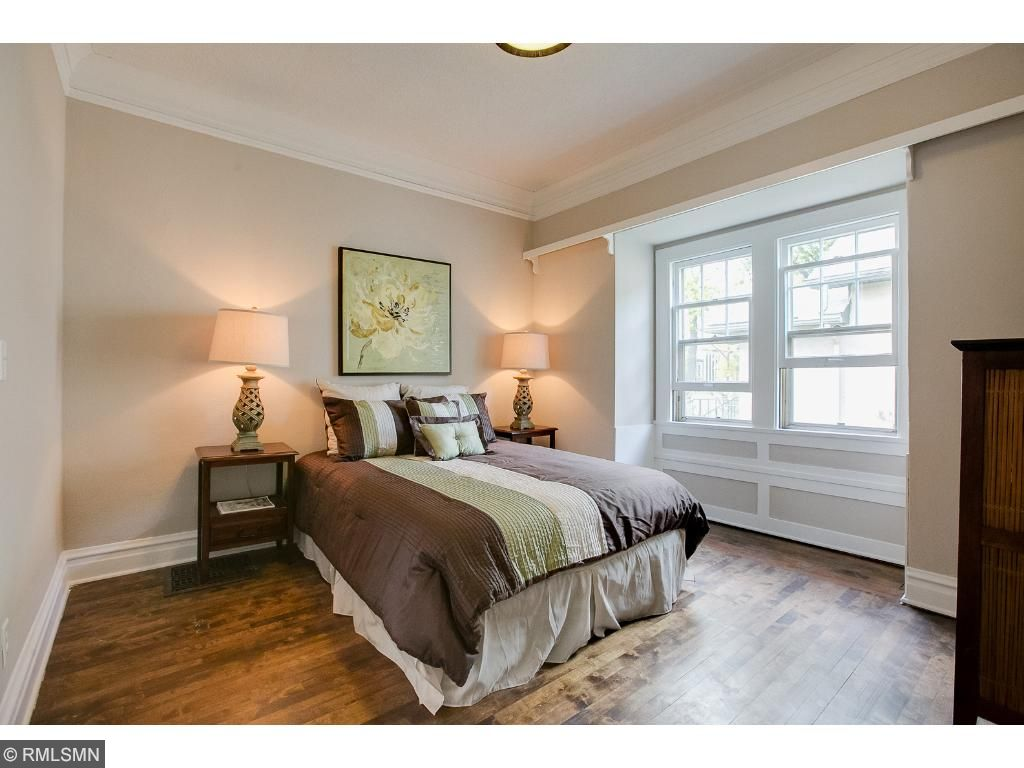 3rd bedroom has great closet space, original hard wood floors and oversized windows to allow for natural light.